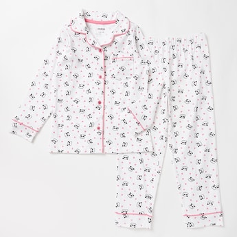 Panda Print Collared Shirt and Pyjama Set