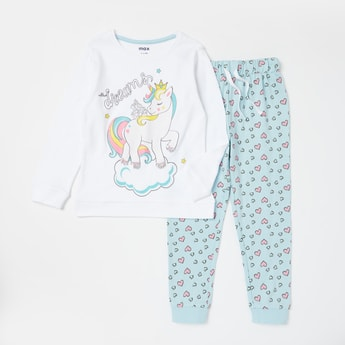 Unicorn Print T-shirt and Full Length Pyjama Set