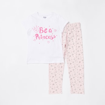 Princess Print Cap Sleeves T-shirt and Pyjama Set
