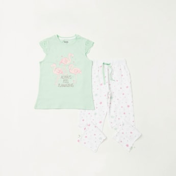 Flamingo Print T-shirt and Full Length Contrast Pyjama Set