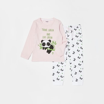 Panda Print Long Sleeves T-shirt and Full Length Pyjama Set