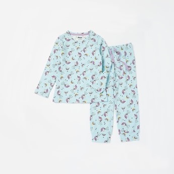 Unicorn Print Soft-Touch Round Neck T-shirt and Full Length Pyjama Set