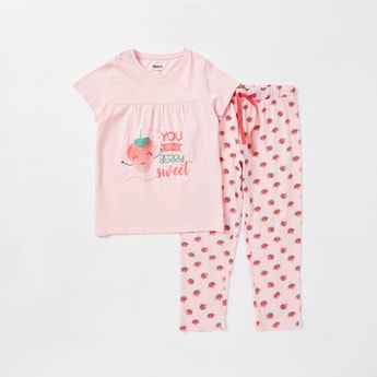 Strawberry Print Cap Sleeves T-shirt and Full Length Pyjama Set