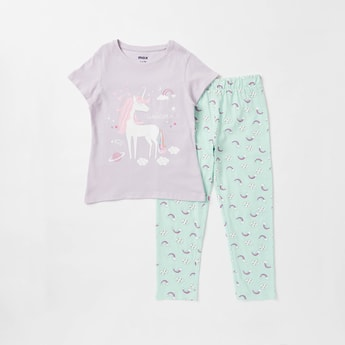 Unicorn Print Short Sleeves T-shirt and Full-Length Pyjama Set