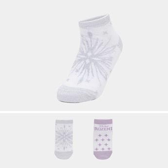 Set of 2 - Frozen Print Ankle Length Socks with Cuffed Hem