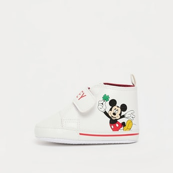 Mickey Mouse Print Booties with Hook and Loop Closure