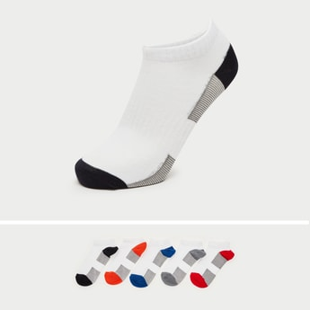 Pack of 5 - Textured Ankle Length Sports Socks with Cuffed Hem