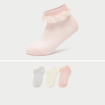 Pack of 3 - Textured Ankle Length Socks with Frill Hem