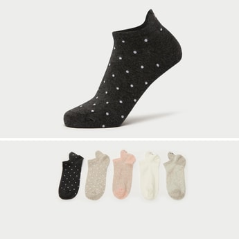 Pack of 5 - Assorted Ankle Length Socks with Cuffed Hem