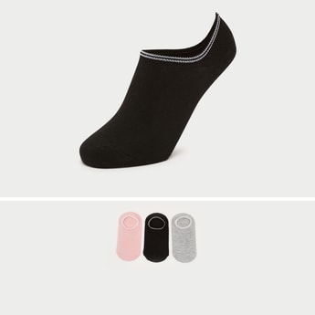 Pack of 3 - Solid Ankle Length Socks with Striped Hem