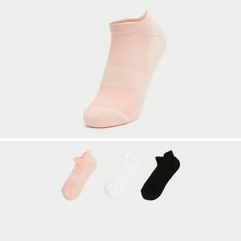Pack of 3 - Textured Ankle-Length Socks with Cuffed Hem