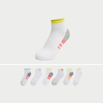 Pack of 6 - Printed Ankle Length Socks with Cuffed Hem