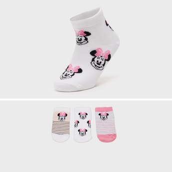 Minnie Mouse Print Ankle Length Socks with Cuffed Hem - Pack of 3