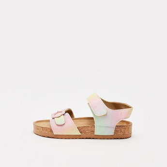 Shaded Strappy Sandals with Hook and Loop Closure