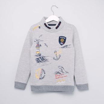 Graphic Printed Cowl Neck Sweatshirt with Long Sleeves
