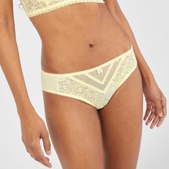 Lace Detail Bikini Briefs with Bow Applique