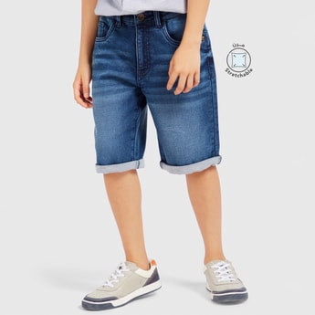 Knit Shorts with Pocket Detail and Button Closure