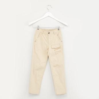 Printed Pants with Belt Loops and Pocket Detail