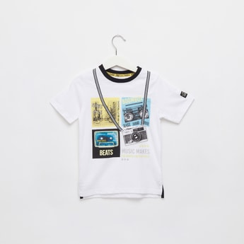 Prined Round Neck T-shirt with Short Sleeves