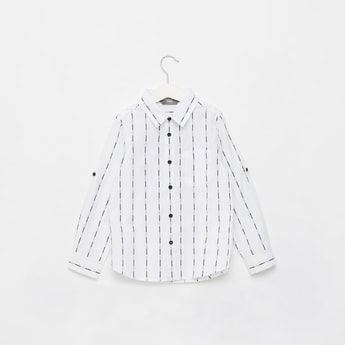 Striped Button Down Collar Shirt with Long Sleeves