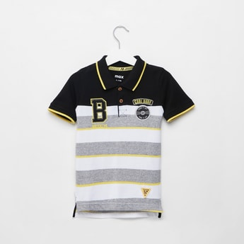 Striped Polo Neck T-shirt with Short Sleeves and Embroidered Applique