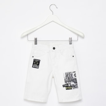 Printed Shorts with Pockets and Button Closure