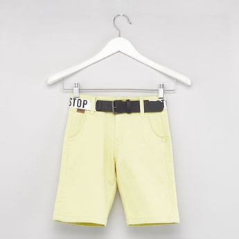 Solid Shorts with Pocket Detail and Printed Belt