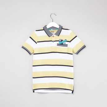 Striped Polo T-shirt with Short Sleeves and Chest Pocket