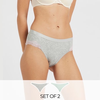 Pack of 2 - Lace Detail Mid-Rise Boyleg Briefs with Elasticised Waist