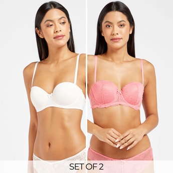 Pack of 2 - Assorted Padded Balconette Bra with Hook and Eye Closure