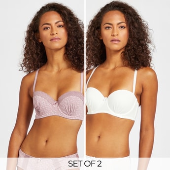 Set of 2 - Assorted Padded Balconette Bra with Hook and Eye Closure