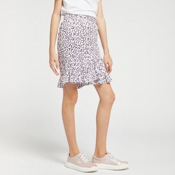 All-Over Print Wrap Skirt with Ruffle Detail