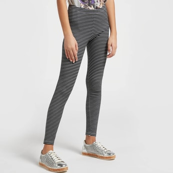 Striped Skinny-Fit Ankle-Length Leggings with Elasticised Waistband
