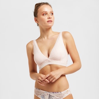 Lace Padded Non-Wired Bralette with Hook and Loop Closure