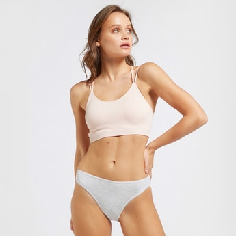Ribbed Seamless Bra with Crossed Strap