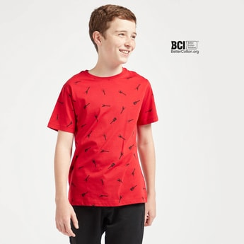 Guitar Print T-shirt with Round Neck and Short Sleeves
