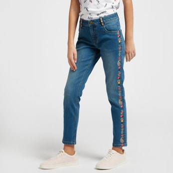 Embroidered Detail Ankle-Length Jeans with Button Closure