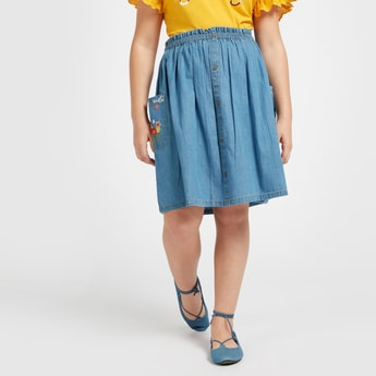 Floral Embroidered A-line Chambray Skirt with Pocket Detail