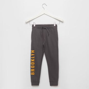 Graphic Print Jog Pants with Pocket Detail and Drawstring Closure