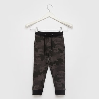Camouflage Print Jog Pants with Pocket Detail and Drawstring Closure