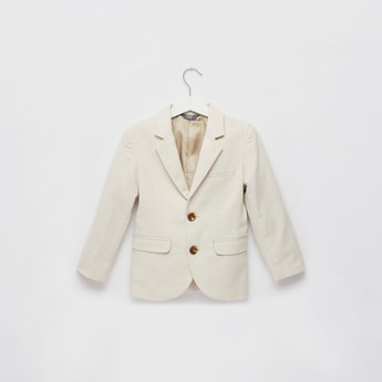 Textured Blazer with Notched Lapel and Flap Pockets