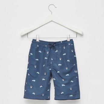 Printed Swim Shorts with Elasticated Drawstring Waist and Pockets