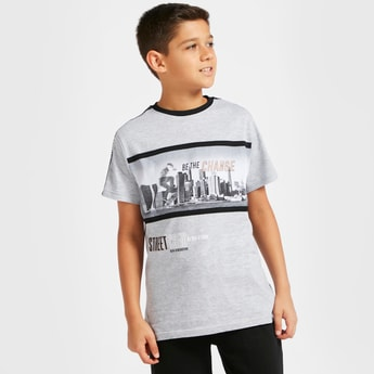 Photo Print Crew Neck T-shirt with Short Sleeves