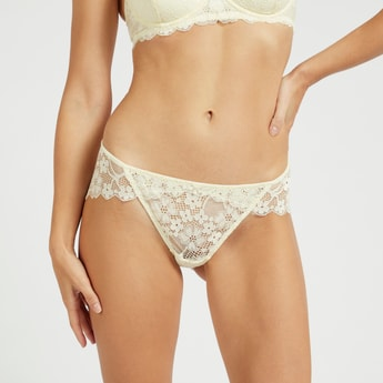 Lace Mid-Rise Bikini Briefs with Elasticised Waistband