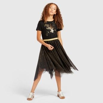 Embellished Knee Length Dress with Short Sleeves