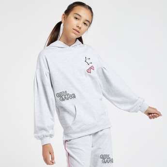 Applique Detail Hoodie with Long Sleeves and Kangaroo Pocket