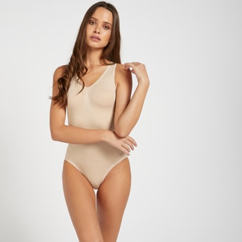 Solid Sleeveless Bodysuit Shaper with V-neck