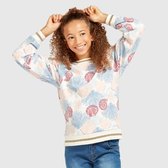 Shell Print Sweat Top with Round Neck and Long Sleeves
