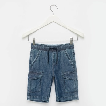 Cargo Denim Shorts with Drawstring Closure