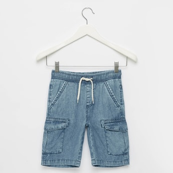 Cargo Denim Shorts with Elasticated Drawstring Waist and Pockets